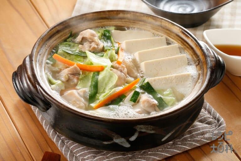 カット野菜でかんたんひとり鍋~鯛と帆立の極みだし~