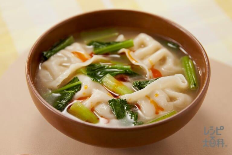 すぐおいしい!小松菜と餃子のスープ