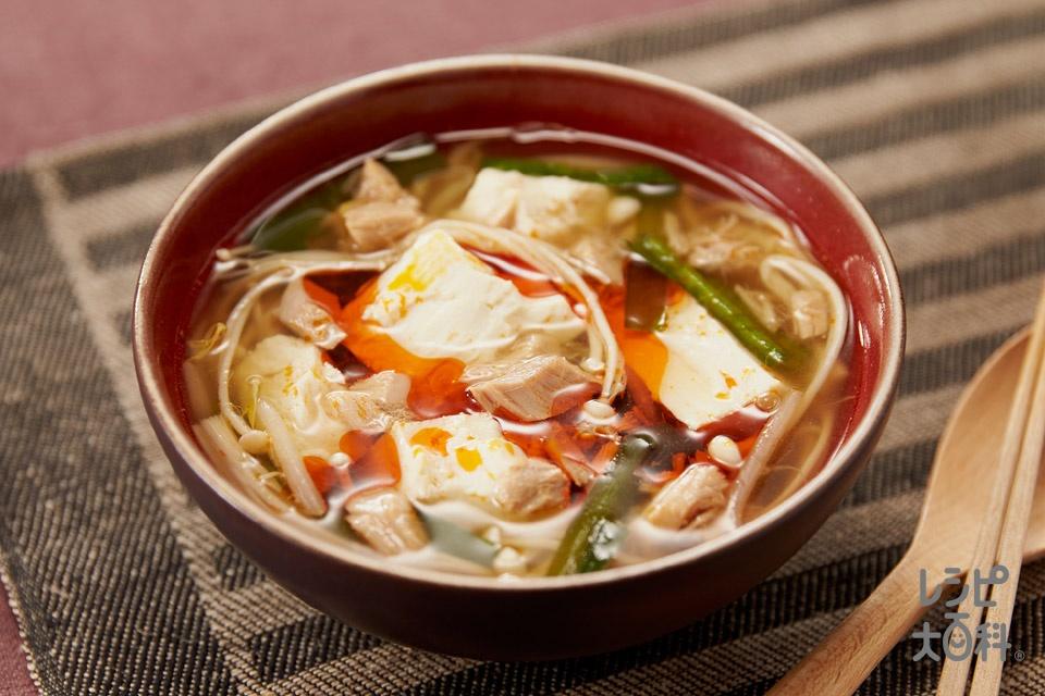 ツナ缶とカット野菜で酸辣湯(ツナ缶(ノンオイル)+えのきだけを使ったレシピ)