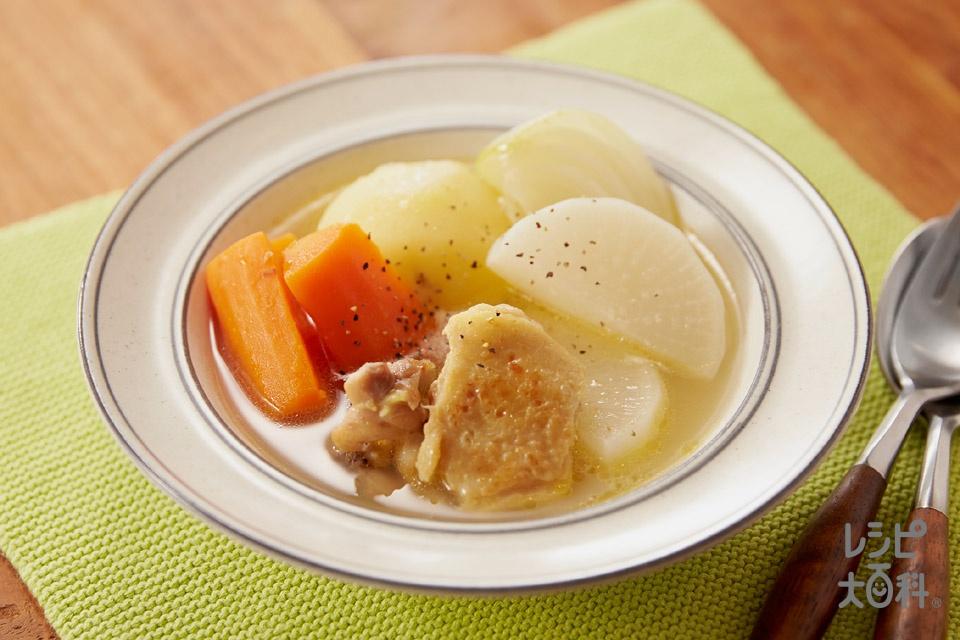 鶏と根菜のゴロッとポトフ(鶏もも肉+じゃがいも(小)を使ったレシピ)