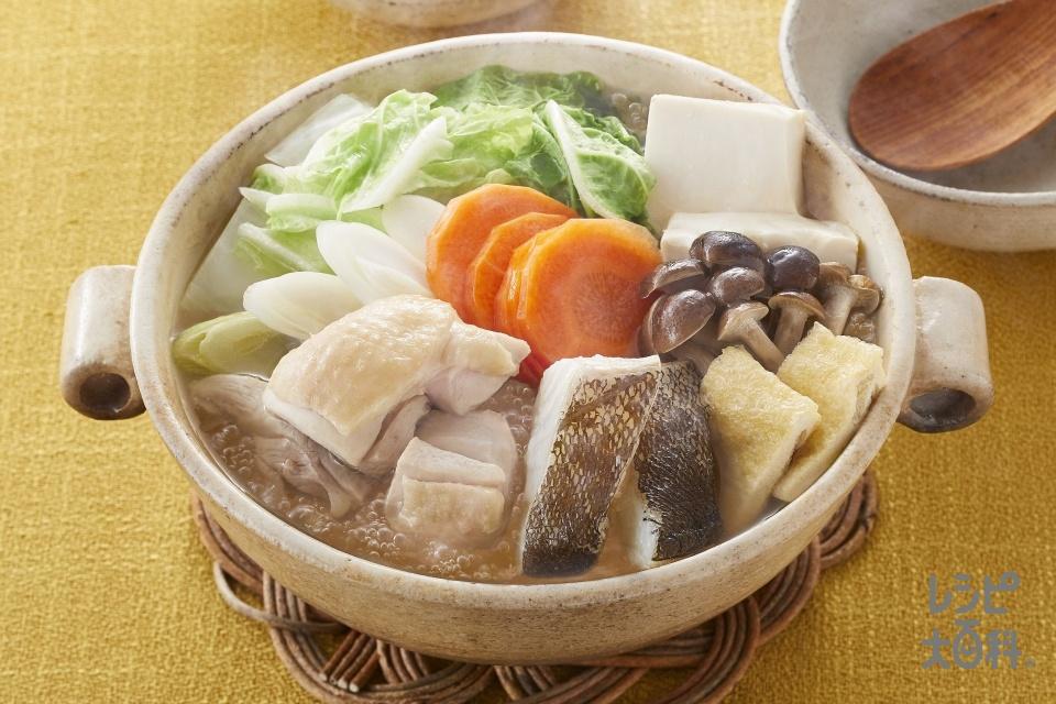 鯛と帆立の極みだし鍋(鶏もも肉+たらを使ったレシピ)