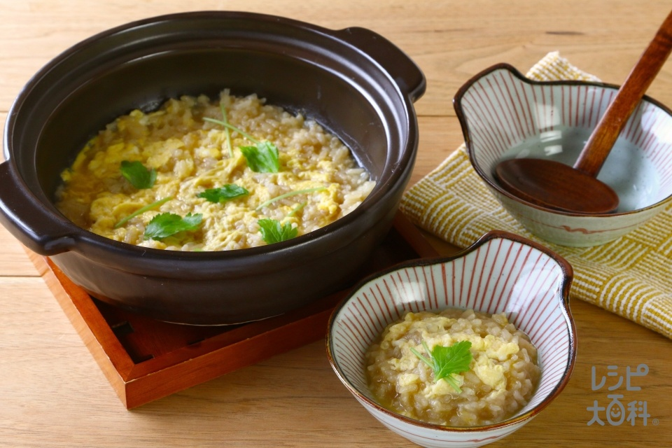 鍋の〆 うまみたっぷり雑炊(ご飯+溶き卵を使ったレシピ)