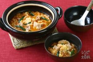 鍋の〆 キムチ卵雑炊