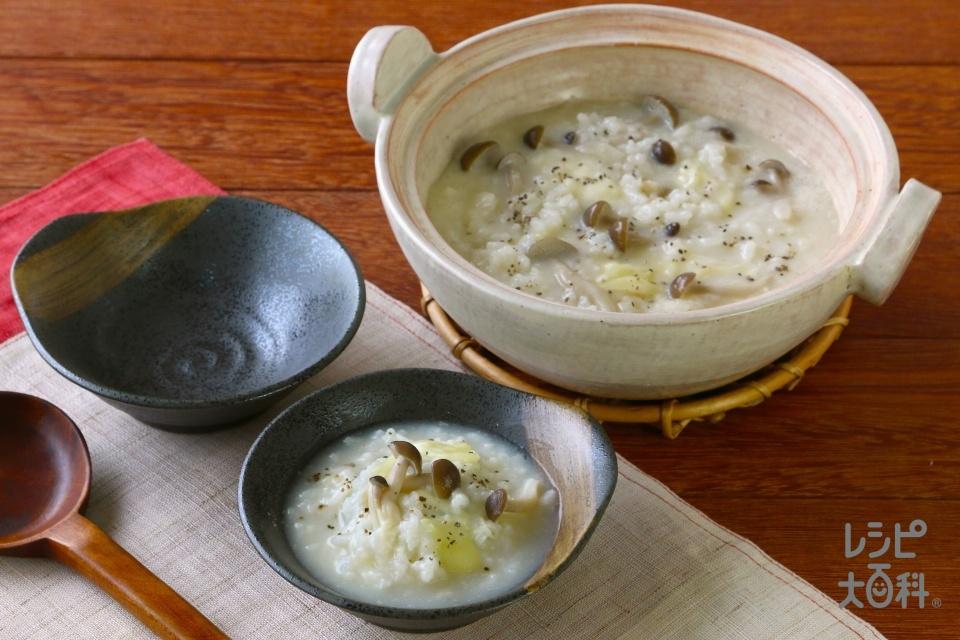 鍋の〆 豆乳リゾット(ご飯+シュレッドチーズを使ったレシピ)