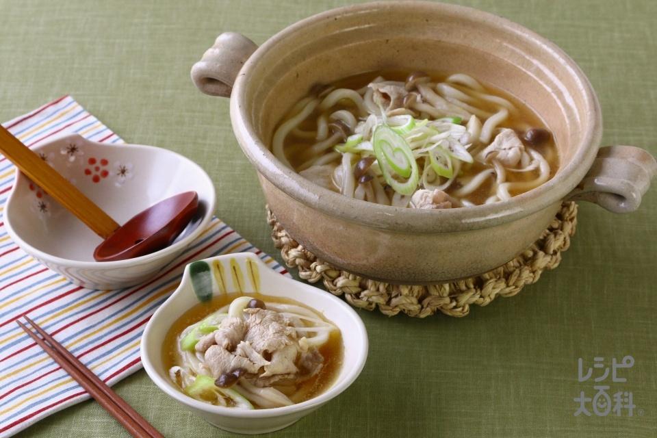 鍋の〆 野菜だしうどん(冷凍うどんを使ったレシピ)