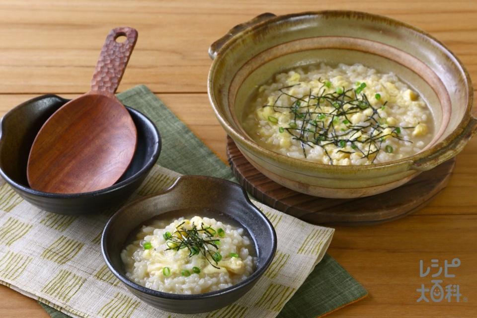 鍋の〆 海鮮だし雑炊(ご飯+溶き卵を使ったレシピ)