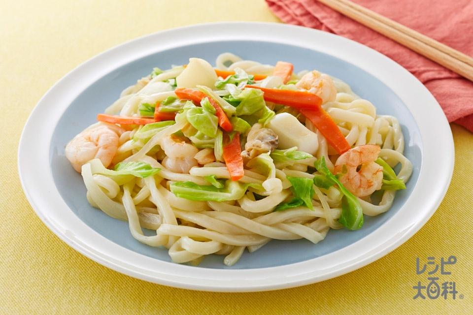 海鮮焼うどん(ゆでうどん+冷凍シーフードミックスを使ったレシピ)