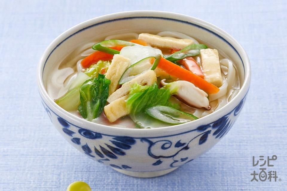 海鮮だしのあんかけうどん(ゆでうどん+白菜を使ったレシピ)