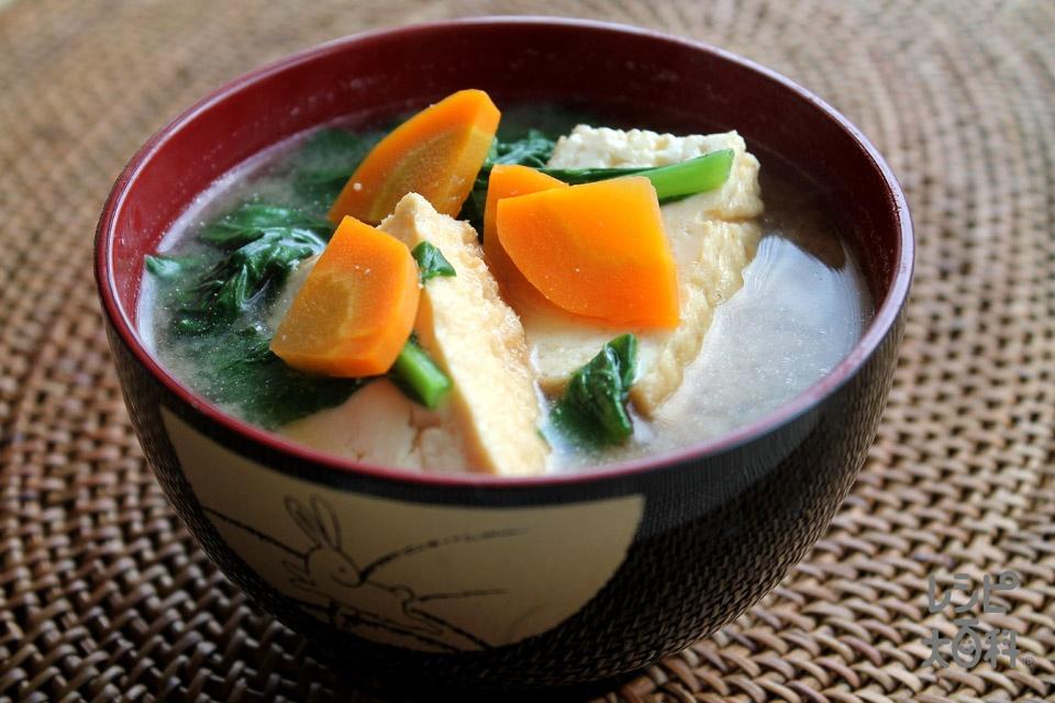 小松菜と厚揚げのみそ汁(厚揚げ+小松菜を使ったレシピ)
