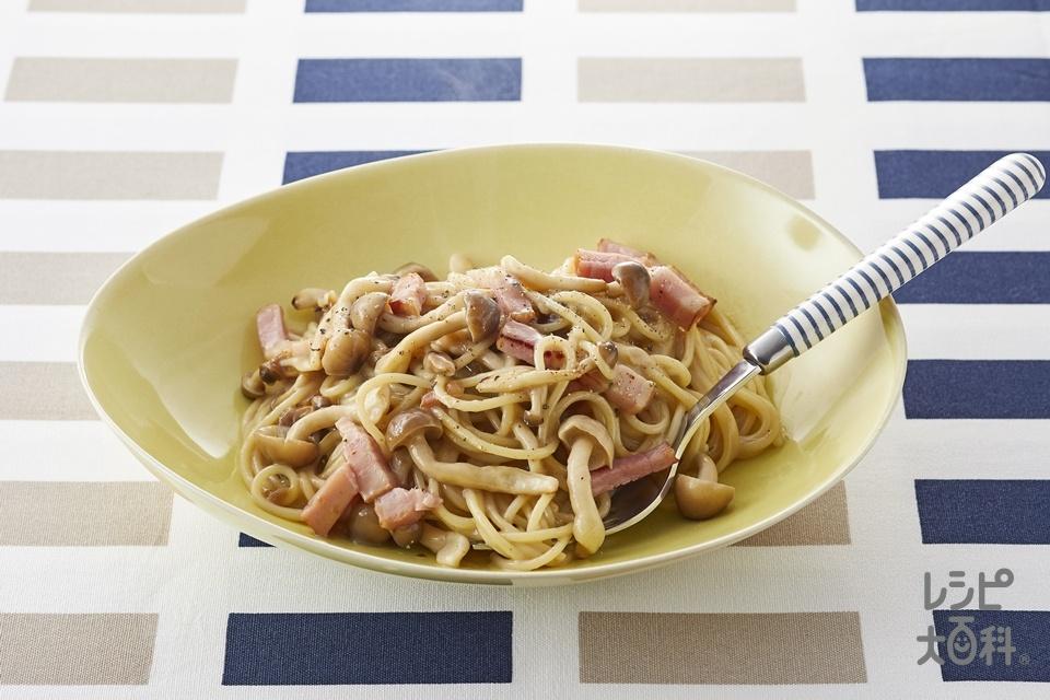 ベジレシピで濃厚きのこクリームパスタ(スパゲッティ+厚切りベーコンを使ったレシピ)