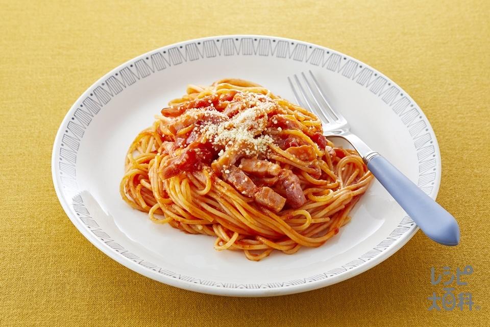 ベジレシピで完熟トマトパスタ(スパゲッティ+厚切りベーコンを使ったレシピ)