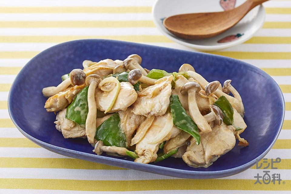 鶏肉としめじのだしマヨ炒め(鶏むね肉(皮なし)+玉ねぎを使ったレシピ)