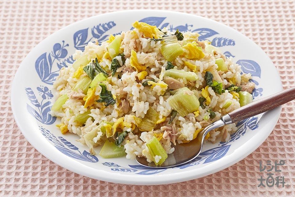 ツナと卵の丸鶏マヨチャーハン(ご飯+溶き卵を使ったレシピ)