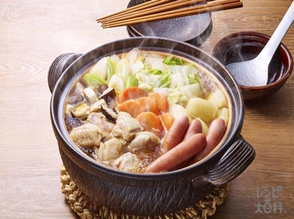 <夕食>鶏肉で作る「コクうま野菜だし鍋」の献立