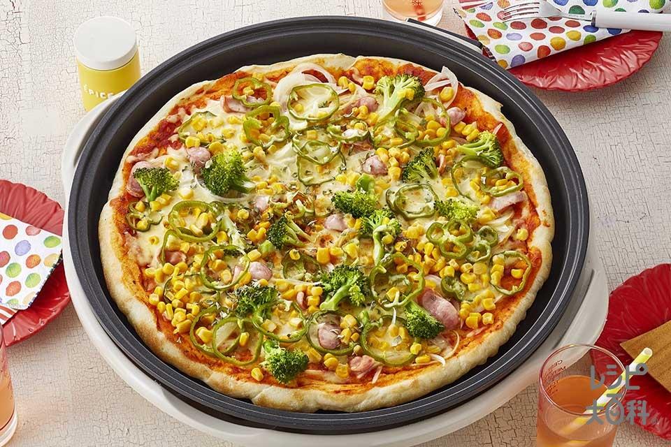 ホットプレートピザ(強力粉+ウインナーソーセージを使ったレシピ)