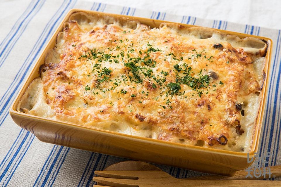 鶏肉ときのこのグラタン(マカロニ+鶏もも肉を使ったレシピ)