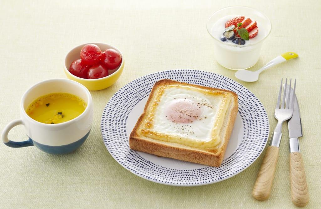 【朝食】ぶっかけマヨ目玉焼きトースト献立