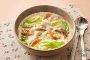 レタスと豚肉の豆乳汁