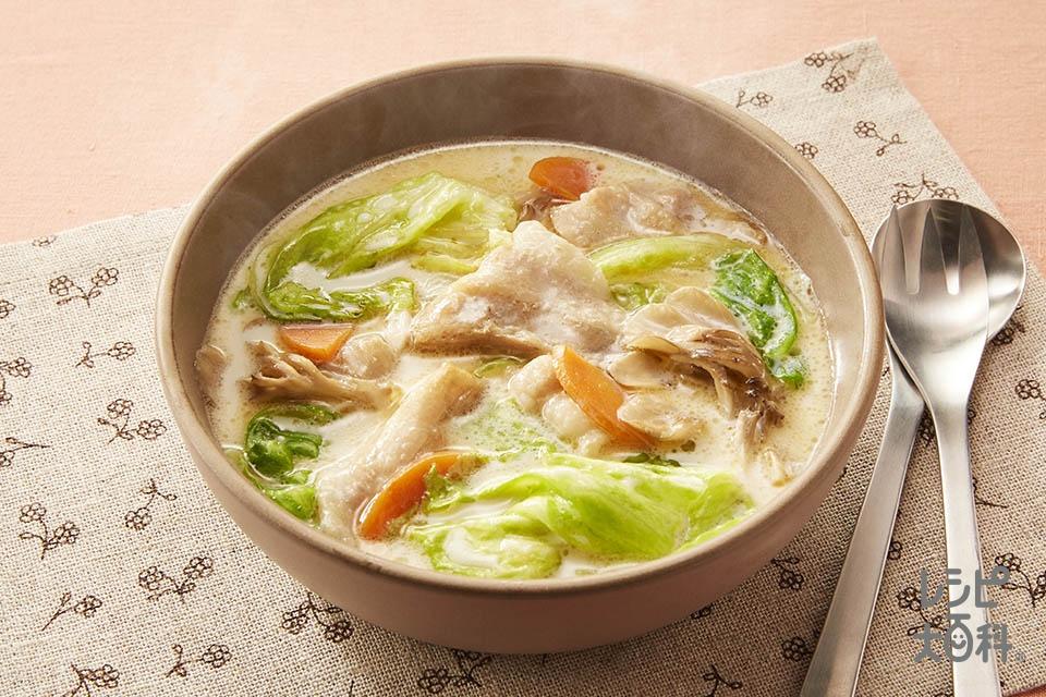レタスと豚肉の豆乳汁(豚バラ薄切り肉+レタスを使ったレシピ)