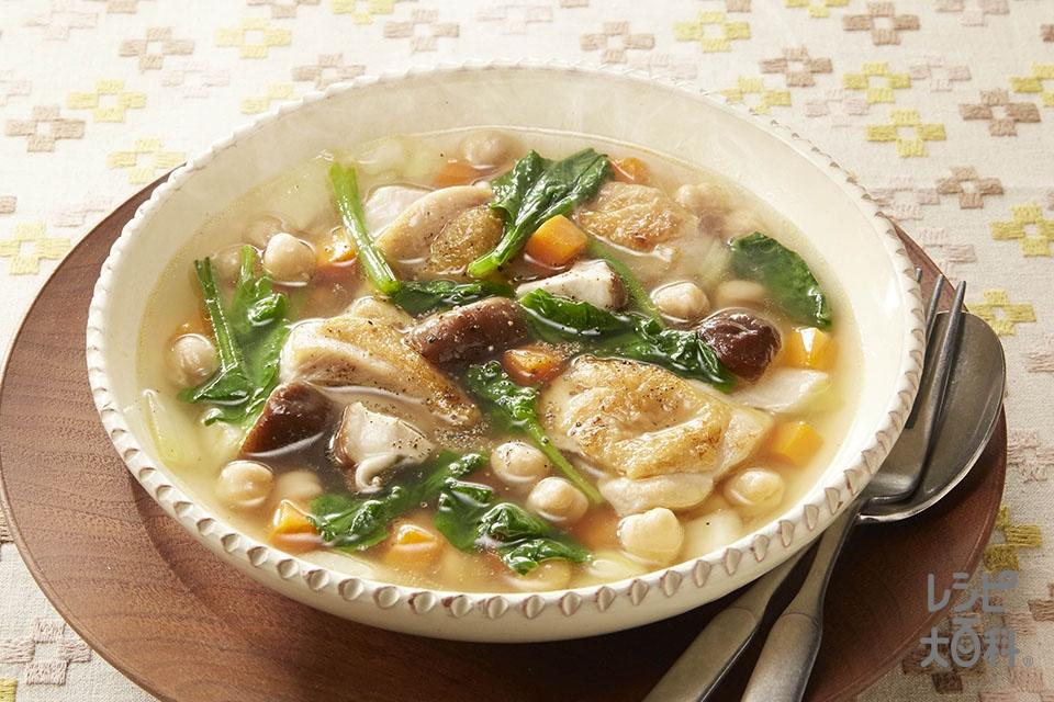 チキンと豆の満腹スープ(鶏もも肉+ひよこ豆(ゆで)を使ったレシピ)