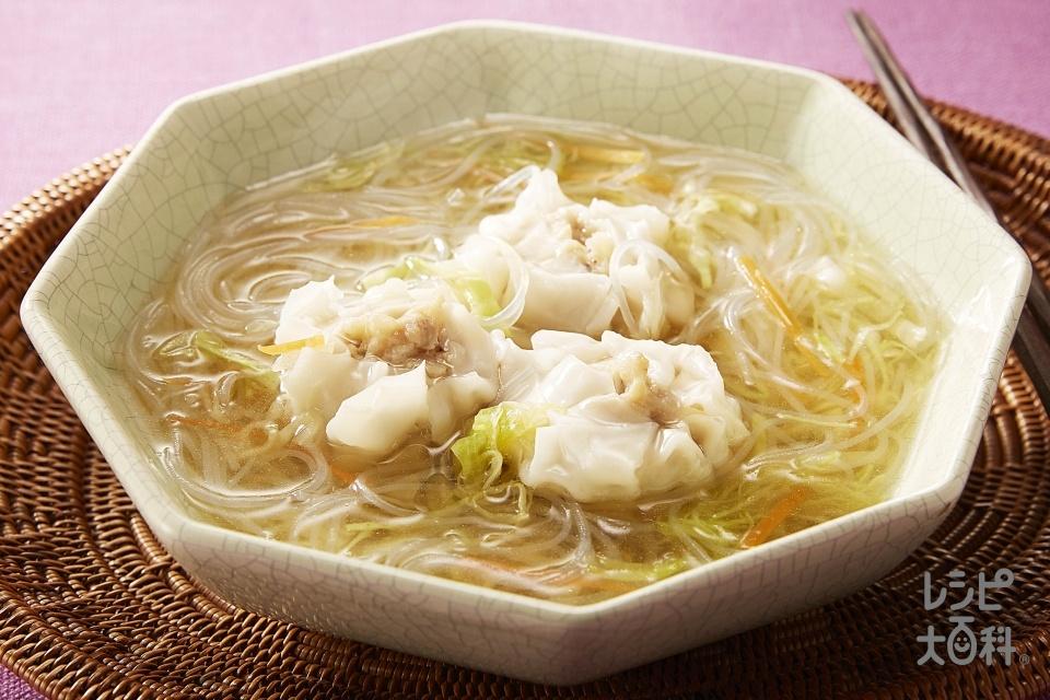 キャベツと春雨入りスープしゅうまい(春雨(乾)+袋入りカット野菜(キャベツミックス)を使ったレシピ)
