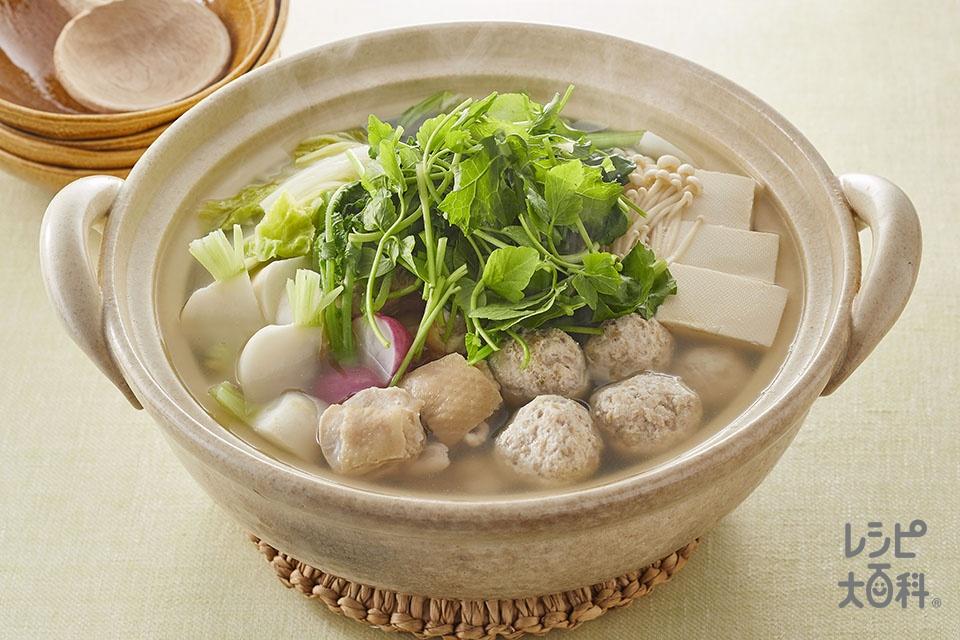 鶏だし七草鍋(鶏もも肉+鶏ひき肉を使ったレシピ)