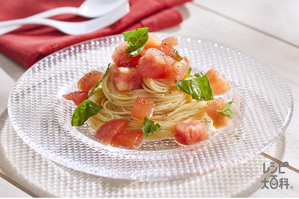 トマトのシンプル冷製パスタ(スパゲッティ+トマトを使ったレシピ)
