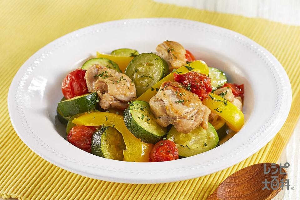 夏野菜と鶏もも肉のソテー(鶏もも肉+ズッキーニを使ったレシピ)