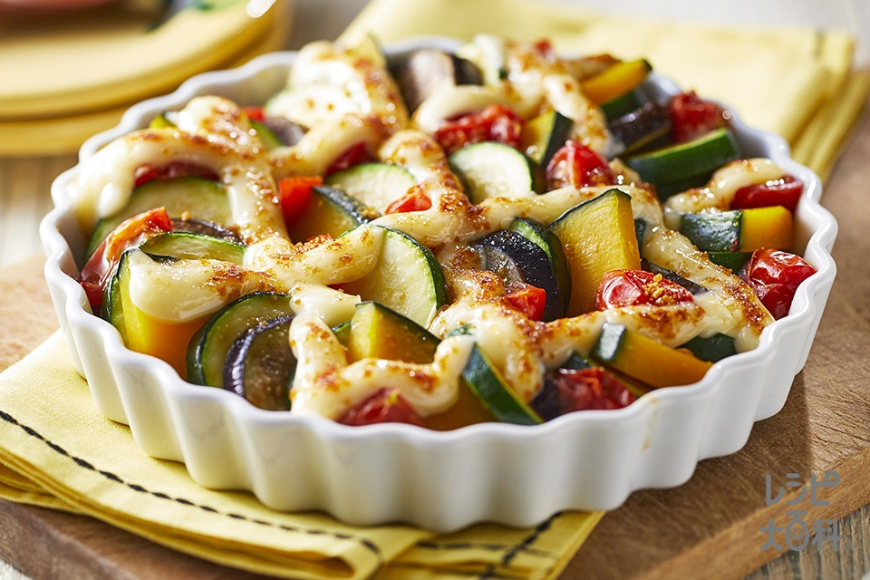 彩り夏野菜のオーブン焼き(ズッキーニ+なすを使ったレシピ)