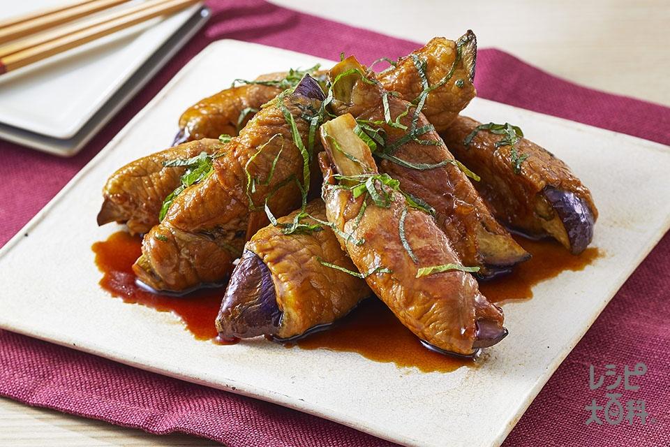 なすと大葉の肉巻きロール(なす+豚ロース薄切り肉を使ったレシピ)