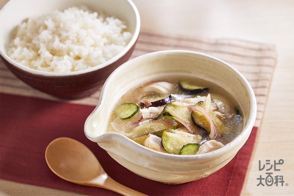 ササミと夏野菜のあっさり冷や汁(鶏ささ身+きゅうりを使ったレシピ)