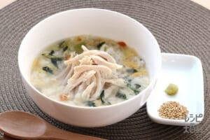 サラダチキンのちゃんぽん風スープかけごはん