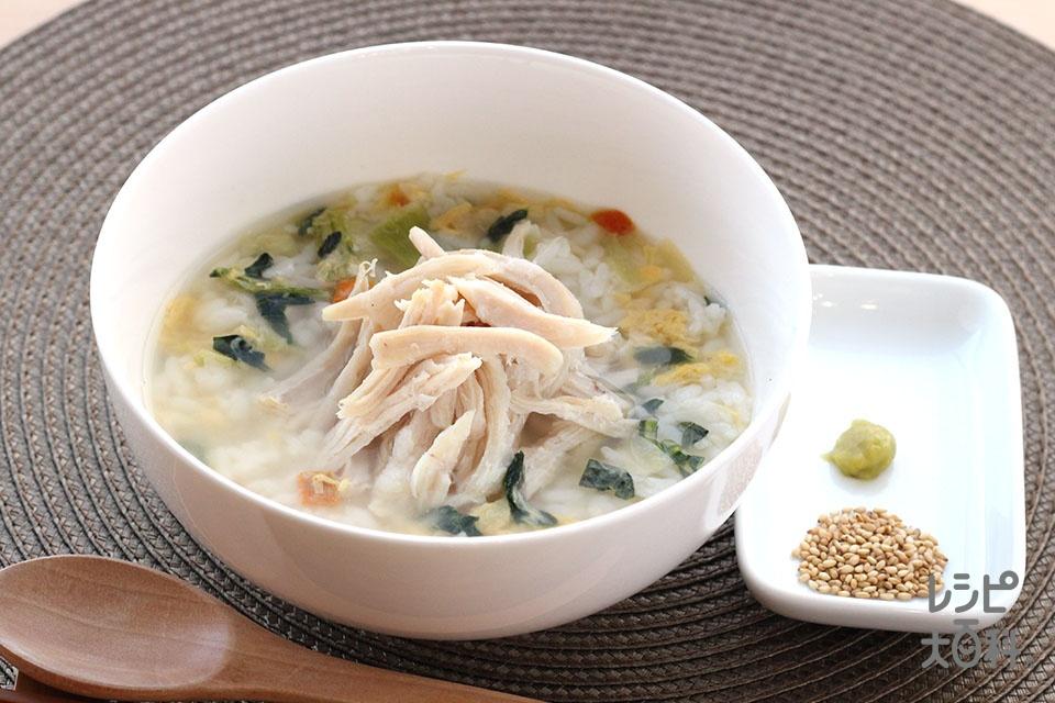 サラダチキンのちゃんぽん風スープかけごはん(ご飯を使ったレシピ)