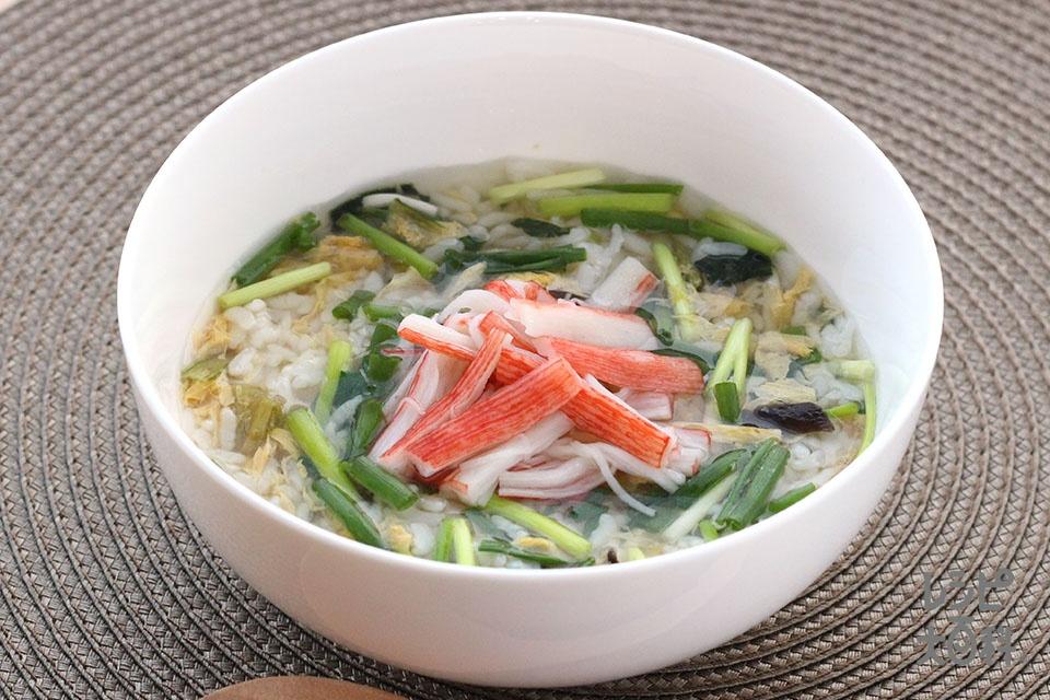 カニカマとねぎのスープかけごはん(ご飯+小ねぎを使ったレシピ)