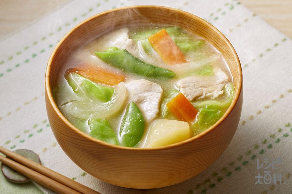 春野菜の豚汁(豚バラ薄切り肉+キャベツを使ったレシピ)