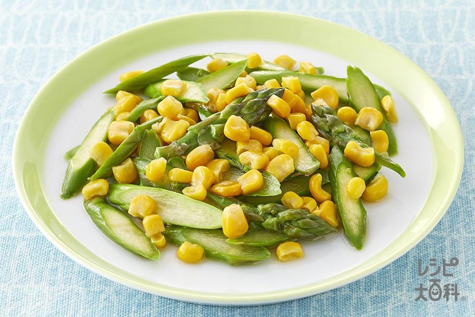 アスパラとコーンのレンジ温野菜♪バーニャカウダ味(グリーンアスパラガス+ホールコーン缶を使ったレシピ)