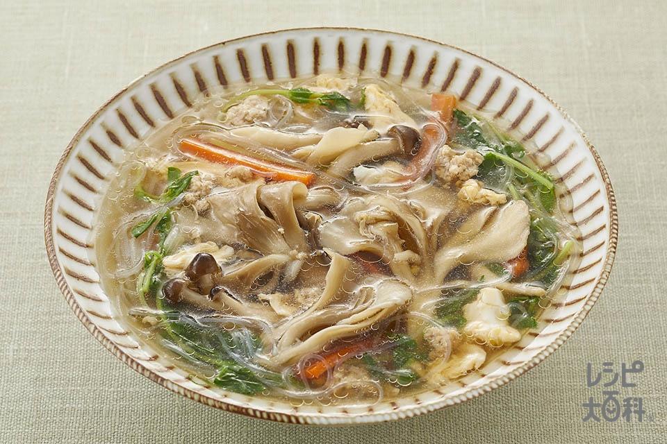 まい足し!春雨スープ(まいたけ+しめじを使ったレシピ)