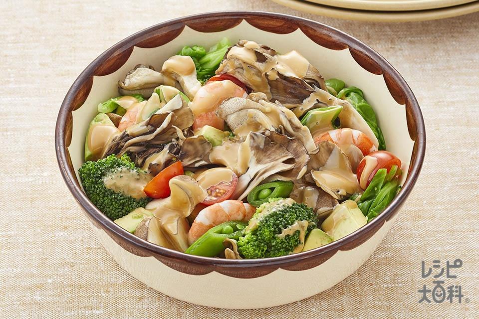 まい足し!温野菜のオイスターマヨ和えサラダ(まいたけ+エリンギを使ったレシピ)