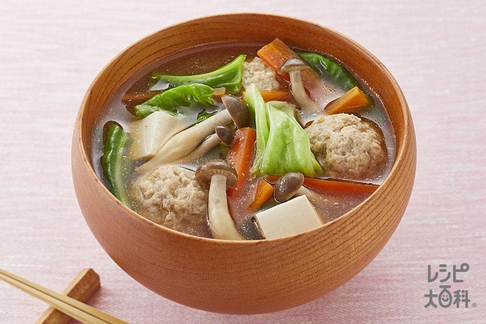 鶏団子とキャベツの絶品汁(鶏ひき肉+キャベツを使ったレシピ)