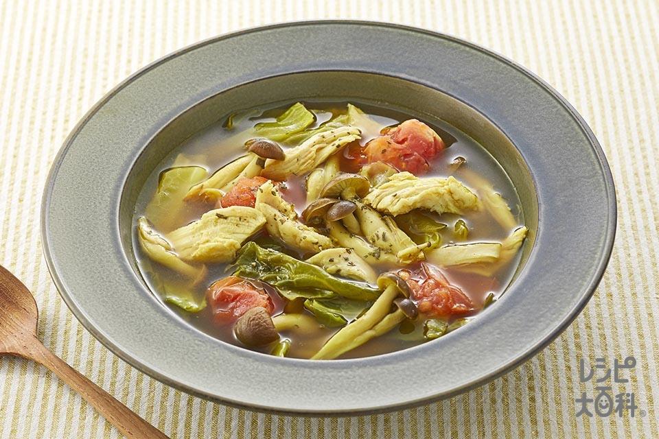 サラダチキンとトマトのカレースープ(しめじ+キャベツを使ったレシピ)