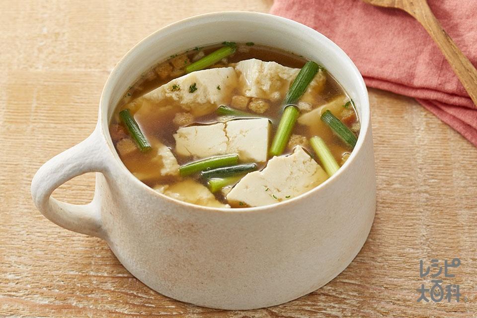 豆腐とねぎのオニオンコンソメ(木綿豆腐+小ねぎを使ったレシピ)