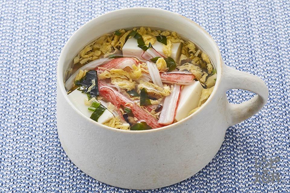 かにたまスープ(絹ごし豆腐+かに風味かまぼこを使ったレシピ)