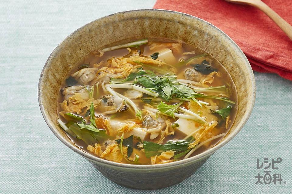 あさりと豆腐のチゲスープ(絹ごし豆腐+あさりの水煮缶を使ったレシピ)