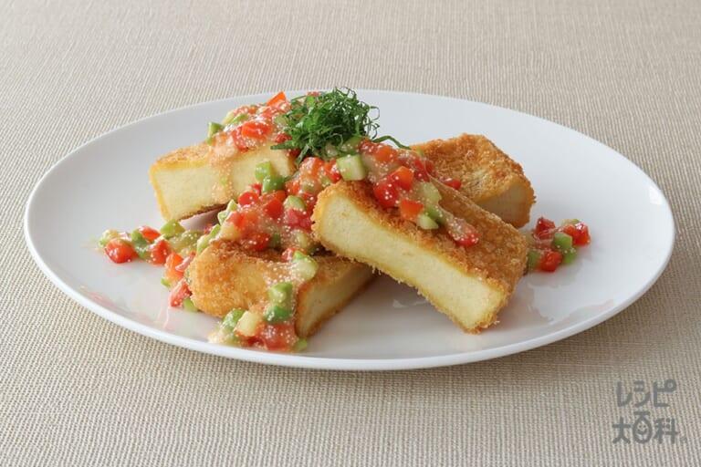 高野豆腐のカツレツ風 アスパラたらこソース