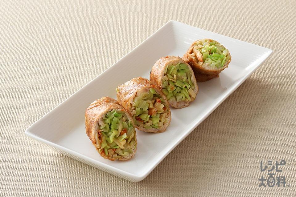 桜えび香る春野菜ロール(豚しゃぶしゃぶ用肉+春キャベツを使ったレシピ)