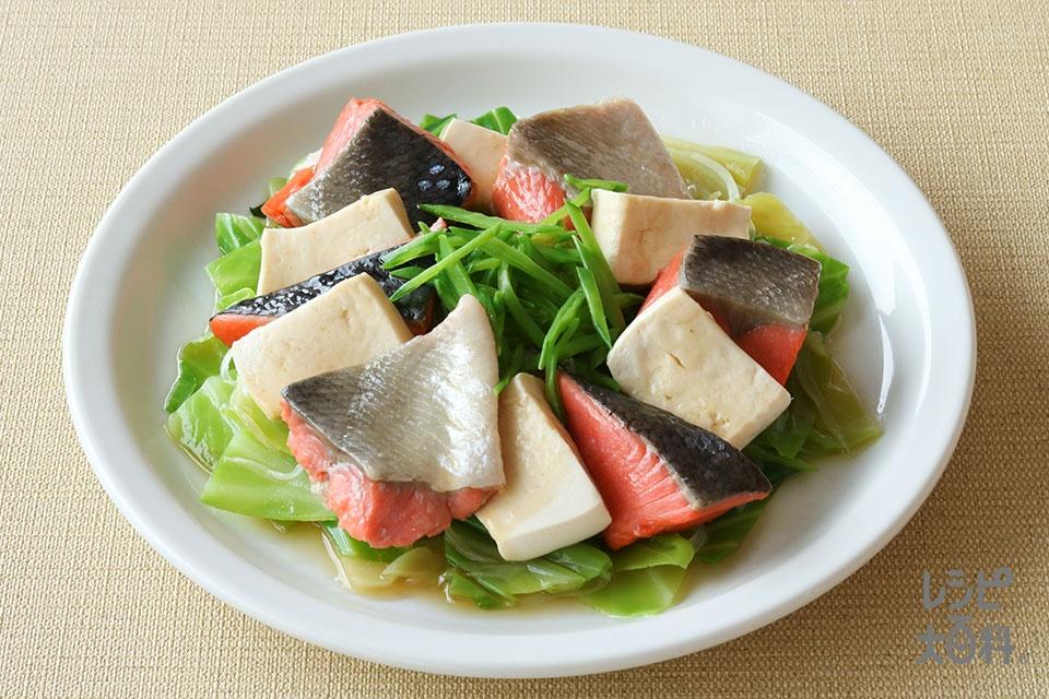 レンジでつくる!鮭の春野菜甘酢あんかけ(生ざけ(切り身)+木綿豆腐を使ったレシピ)