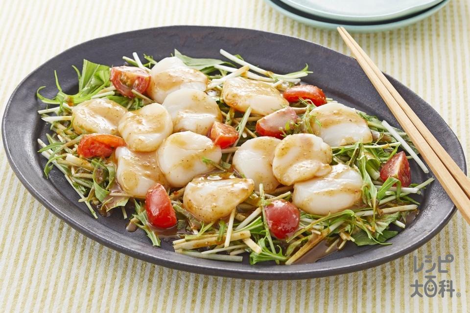 帆立と水菜の棒棒鶏ソースがけ(帆立貝柱(刺身)+水菜を使ったレシピ)