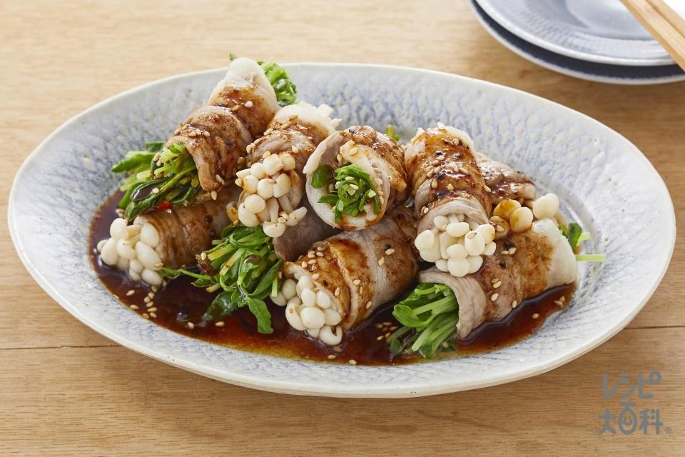 豆苗とえのきの豚肉巻き よだれ鶏ソースがけ(豚バラ薄切り肉+えのきだけを使ったレシピ)
