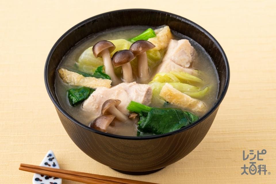 鶏肉とキャベツの具だくさん味噌汁(鶏もも肉+キャベツを使ったレシピ)