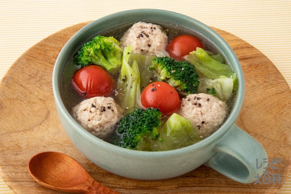 鶏団子とキャベツのスープ野菜(鶏ひき肉+キャベツを使ったレシピ)